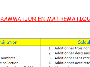 Programmation Maths CE2