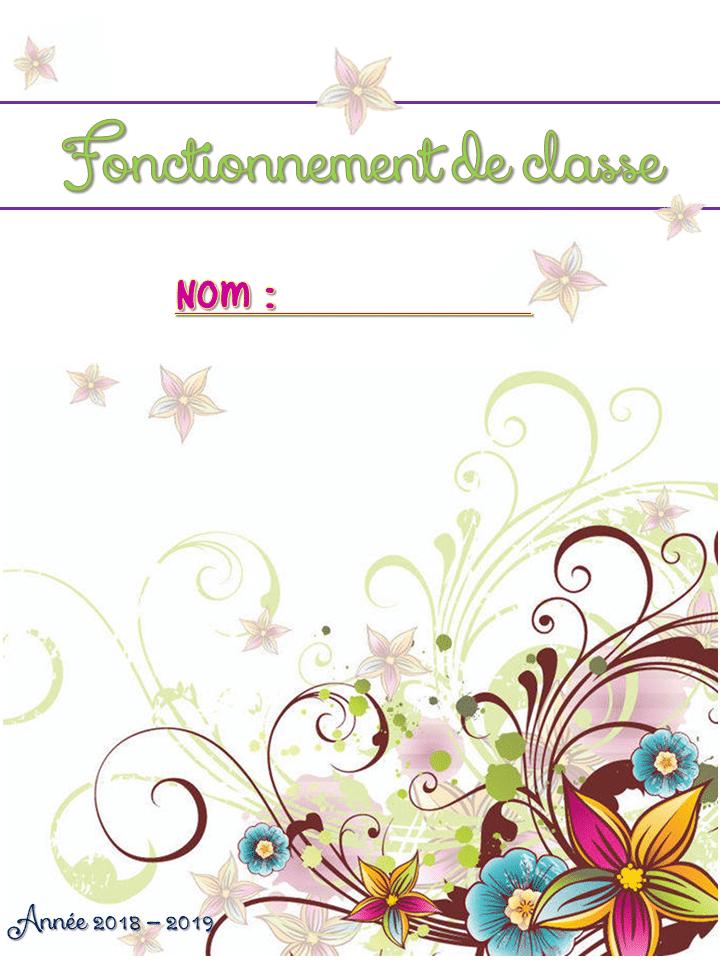 cahier enseignant theme floral